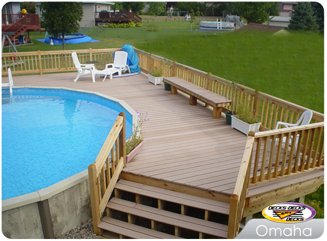 Pool spa decks photo gallery decks decks and more decks custom deck builder omaha - Above ground composite pool deck ...