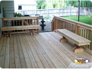 Cedar deck with benches