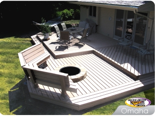 Composite deck with firepit