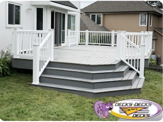 White Railing and grey decking omaha