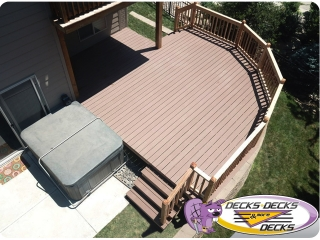 Deck over retaining wall and spa area