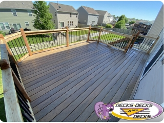 Mixed composite cedar wood deck Omaha