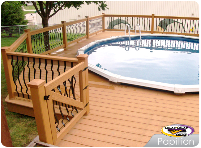 Pool spa decks photo gallery decks decks and more decks - Custom above ground pool ...