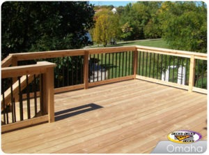 A second story cedar deck