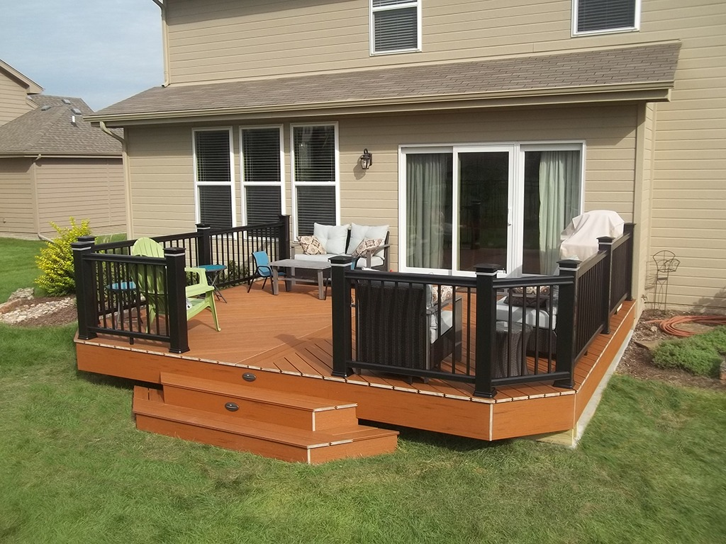 Custom Deck Omaha on a patio slab