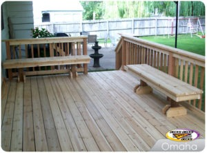omaha cedar custom deck with benches